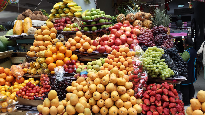 Colorful produce at the Pillaro central market