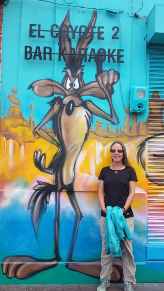 Street art in Riobama Ecuador featuring Wylie Coyote