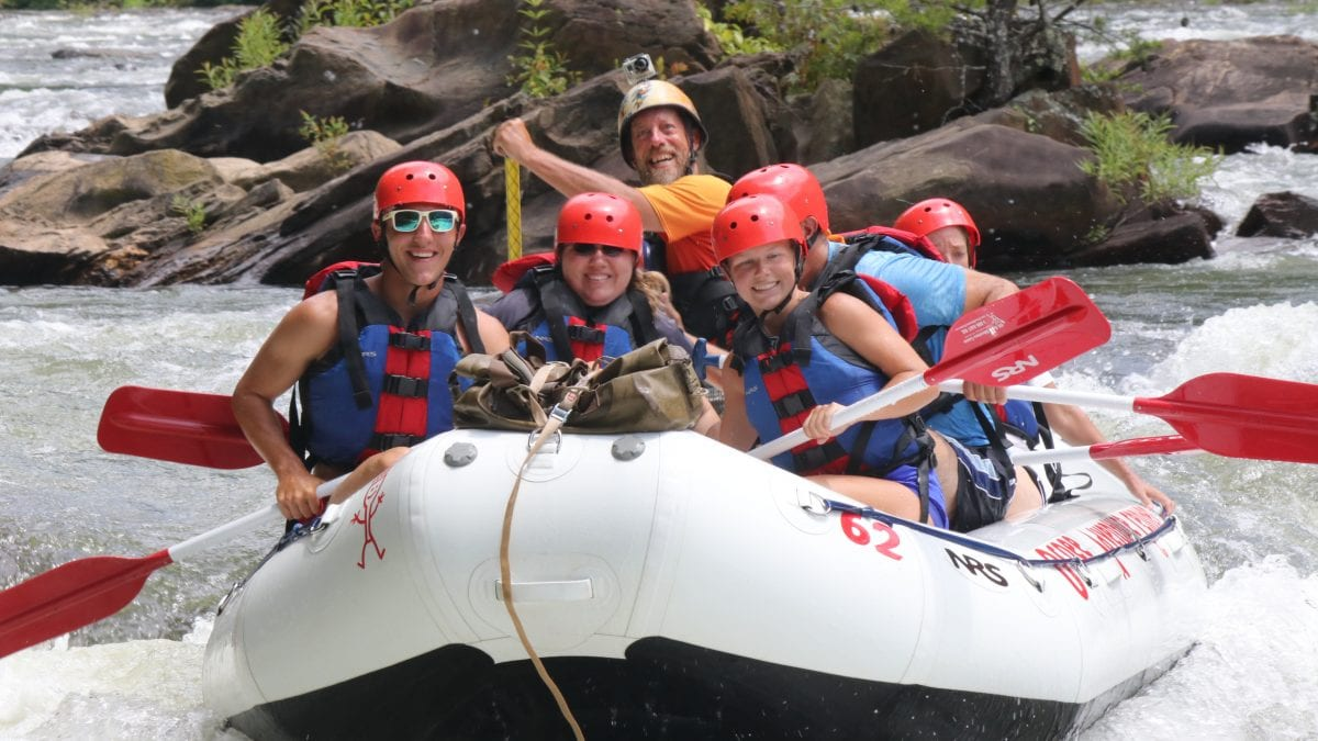 OAC Whitewater raft running Broken Nose rapid on the Middle Ocoee River