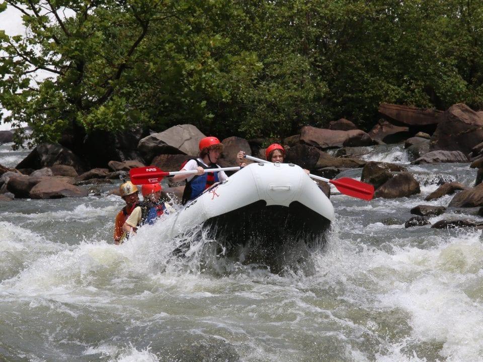 Raft approaches Grumpy's Ledge
