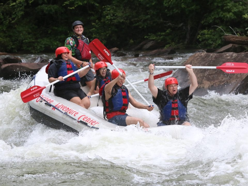 Rafting running the North Shore Rapid on the Ocoee River